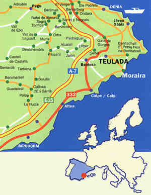 Map of the Moraira area showing the Mediterenean Motorway (AP 7) which is the main link to the Costa Blanca towns.